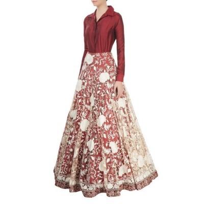 Astha Bridal Maroon Net Gown