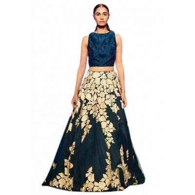 Astha Bridal Blue Banglori Silk Embroidered Semi-Stitched Lehenga Choli