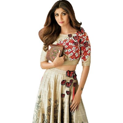 Astha Bridal Beige Banglori Silk Embroidered Semi-Stitched Lehenga Choli