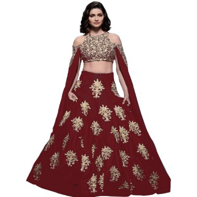 Astha Bridal Red Banglori Satin Embroidered Semi-Stitched Lehenga Choli