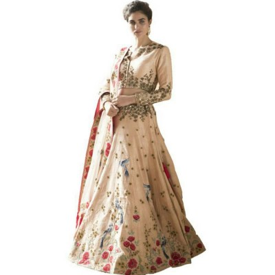 Astha Bridal Cream Silk Embroidered Semi-Stitched Lehenga Choli