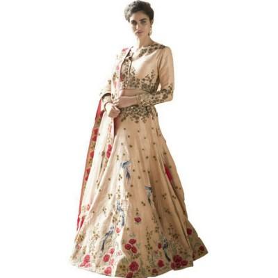 Astha Bridal Cream Silk Embroidered Semi-Stitched Lehenga Choli