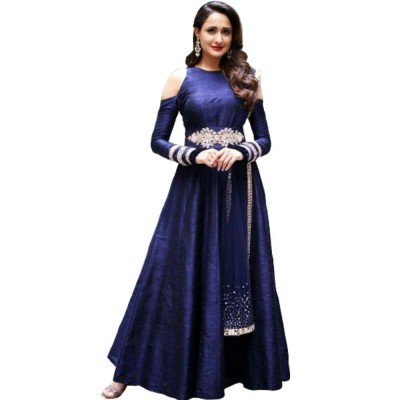 Astha Bridal Blue Banarasi Silk Semi-Stitched Lehenga Choli