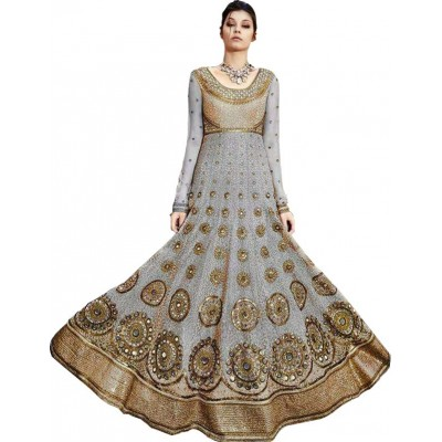 Astha Bridal Ash Satin Silk Embroidered Semi-Stitched Dress Material