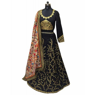 Astha Bridal Black Banglori Silk Embroidered Semi-Stitched Lehenga Choli