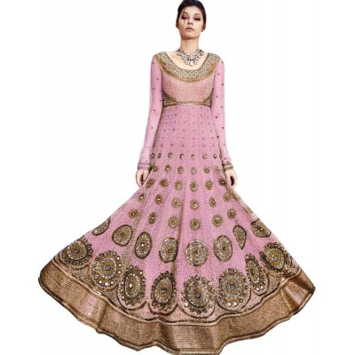 Astha Bridal Pink Satin Silk Embroidered Semi-Stitched Dress Material