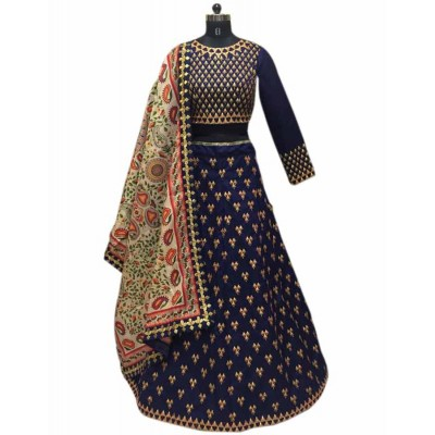 Astha Bridal Navy Blue Banglori Silk Embroidered Semi-Stitched Lehenga Choli