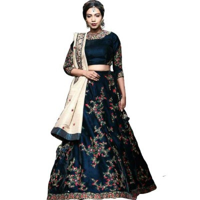 Astha Bridal Navy Blue Banglori Satin Embroidered Semi-Stitched Lehenga Choli