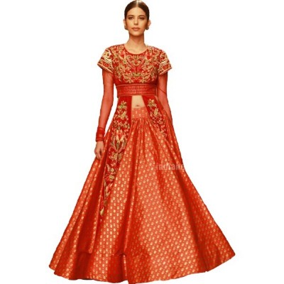 Astha Bridal Orange Tapeta Silk Embroidered Semi-Stitched Lehenga Choli