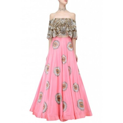 Astha Bridal Rose Santoon Embroidered Semi-Stitched Lehenga Choli