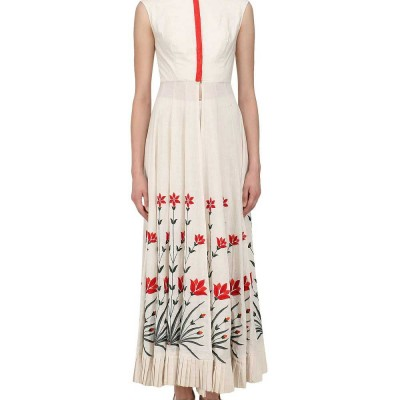 Astha Bridal Cream Dupion Silk Semi-Stitched Dress Material