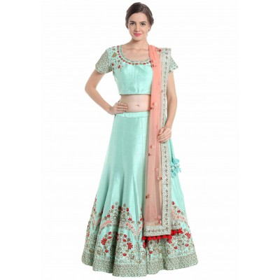 Astha Bridal Sea Green Banglori Silk Embroidered Semi-Stitched Lehenga Choli