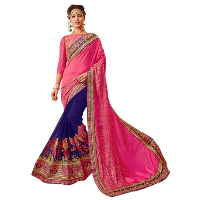 Raha Pink Georgette Embroidered Saree