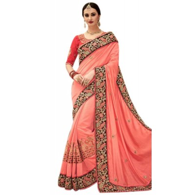 Raha Peach Georgette Embroidered Saree