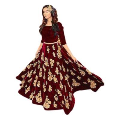 Raha Maroon Velvet Embroidered Semi-Stitched Lehenga Choli