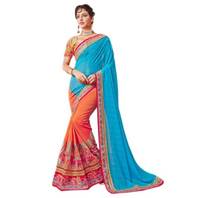 Raha Blue Georgette Embroidered Saree