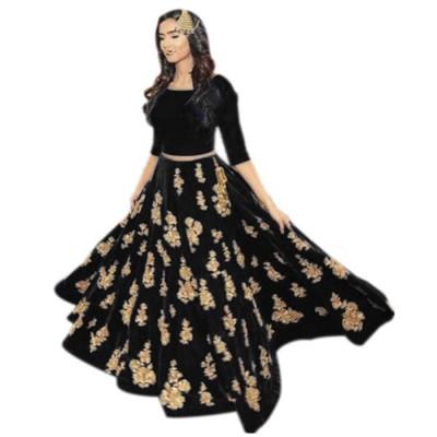 Raha Black Velvet Embroidered Semi-Stitched Lehenga Choli