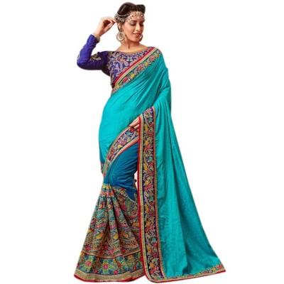 Raha Sky Blue Georgette Embroidered Saree