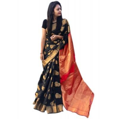 Raha Black Cotton Silk Jacquard designed Saree