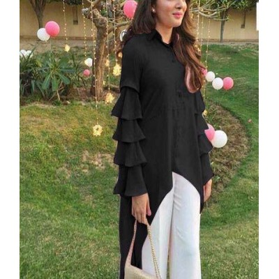 Raha Black Rayon Ruffles Regular Top