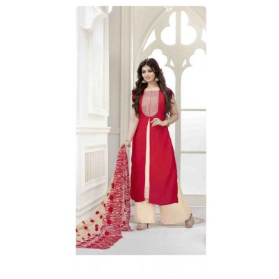 Raha Maroon Georgette & Net Embroidered Semi-Stitched Dress Material