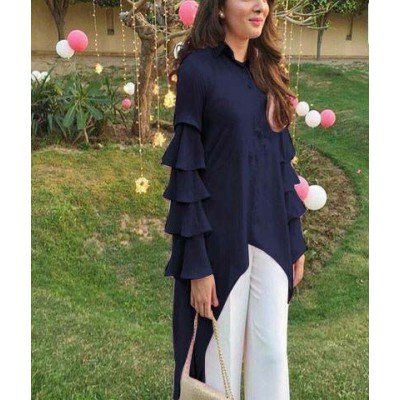 Raha Navy Blue Rayon Ruffles Regular Top