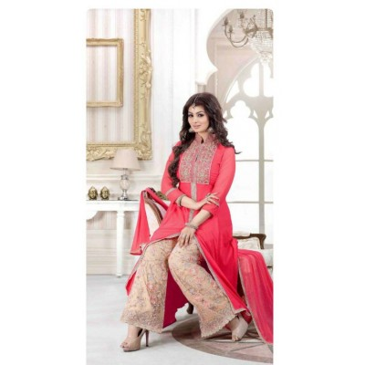 Raha Peach Georgette & Net Embroidered Semi-Stitched Dress Material