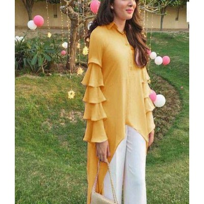 Raha Yellow Rayon Ruffles Regular Top