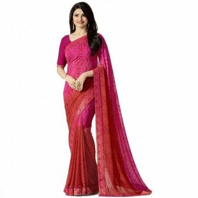 Indian Aurra Magenta Georgette Printed Saree
