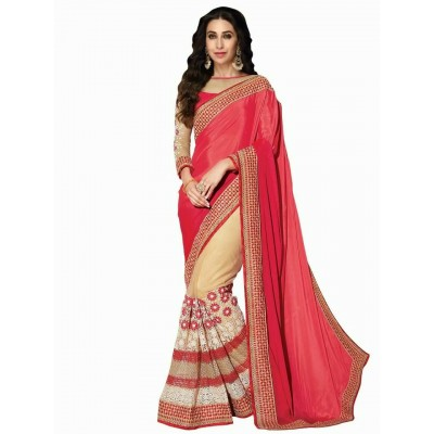 Indian Aurra Red Georgette & Lycra Designer Saree