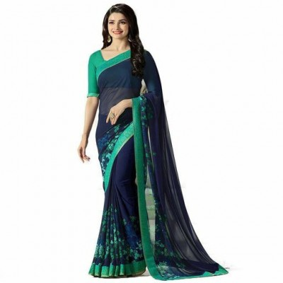 Indian Aurra Navy Blue Georgette Printed Saree
