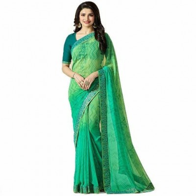 Indian Aurra Green Georgette Printed Saree