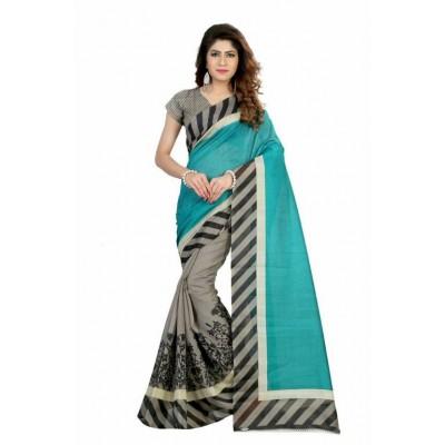 Indian Aurra Blue Bhagalpuri Silk Printed Saree