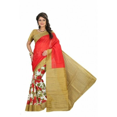 Indian Aurra Red Bhagalpuri Silk Printed Saree