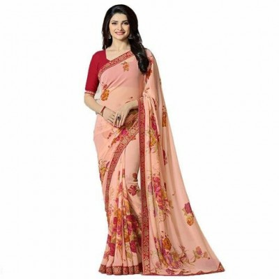 Indian Aurra Peach Georgette Printed Saree
