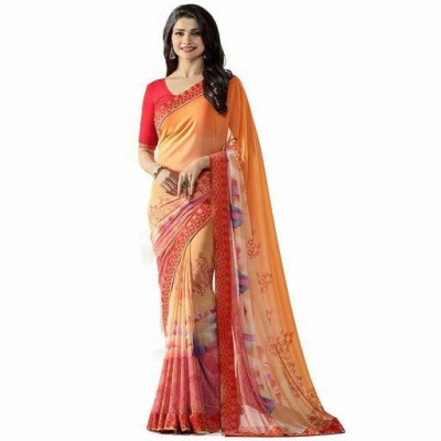 Indian Aurra Orange Georgette Printed Saree