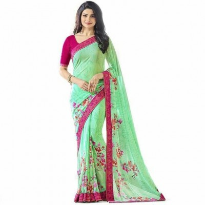 Indian Aurra Green Georgette Printed Saree