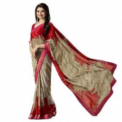 Indian Aurra Red Georgette Printed Saree