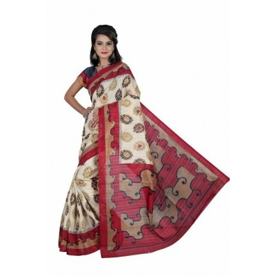 Indian Aurra Cream Bhagalpuri Silk Printed Saree