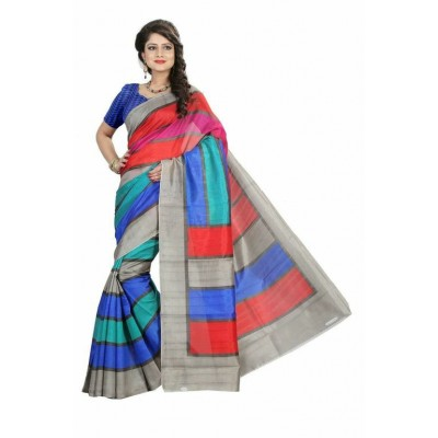Indian Aurra Multi Colour Bhagalpuri Silk Printed Saree