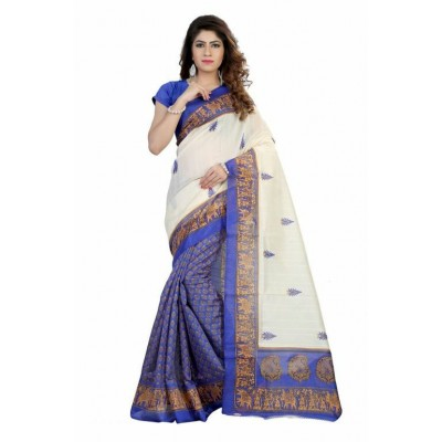 Indian Aurra Off White Bhagalpuri Silk Printed Saree