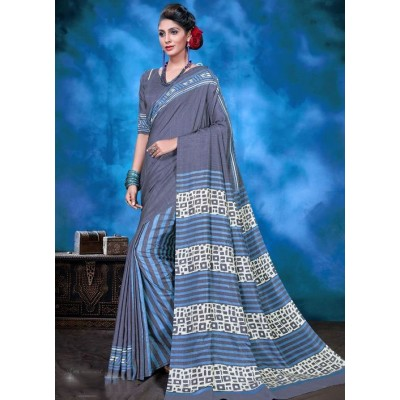 Indian Aurra Grey Tussur Silk Printed Saree