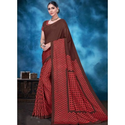 Indian Aurra Brown Tussur Silk Printed Saree