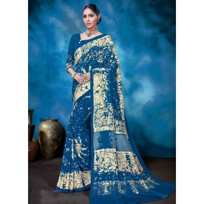 Indian Aurra Blue Tussur Silk Printed Saree