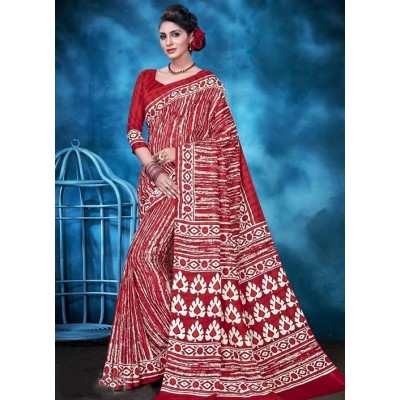 Indian Aurra Red Tussur Silk Printed Saree
