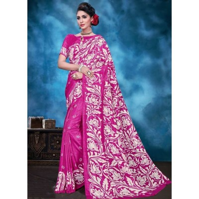 Indian Aurra Pink Tussur Silk Printed Saree