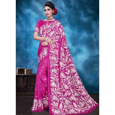 Indian Aurra Pink Tussur Silk Printed Saree