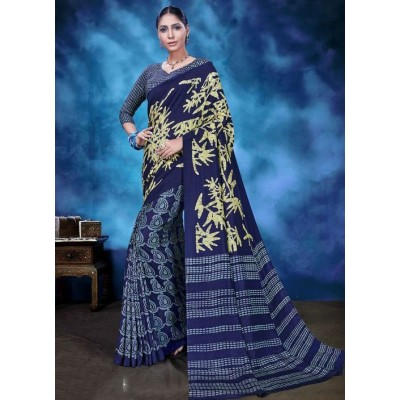 Indian Aurra Navy Blue Tussur Silk Printed Saree