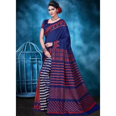 Indian Aurra Navy Blue Tussur Silk Printed Saree