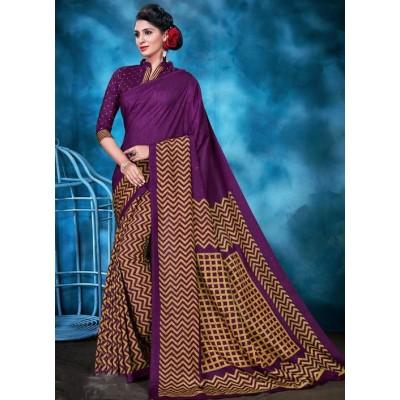 Indian Aurra Violet Tussur Silk Printed Saree